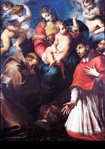 m_Daniele Crespi, Madonna con Bambino, san Francesco d'Assisi, san Carlo Borromeo e undevoto (part
